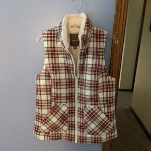 Red and green plaid lined vest